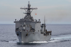 USS Harpers Ferry (LSD 49) approaches USNS Yukon (T-AO 202) for a replenishment-at sea during training in the Pacific in January. (U.S. Navy/MC2 Kyle Carlstrom)