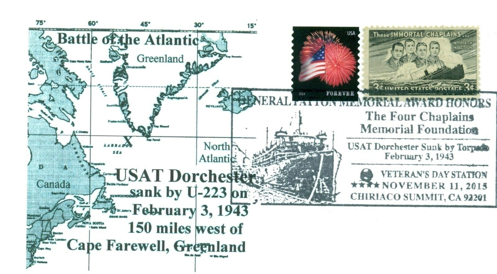 United States - Scott #956 (1948) used on 2015 Veterans Day cover marking the sinking of the Dorchester.