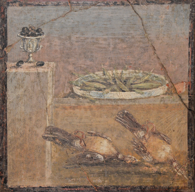 Fresco from Pompeii with a small vessel full of olives, a tray with fish and two partridges, from the Villa of Diomedes, Naples National Archaeological Museum