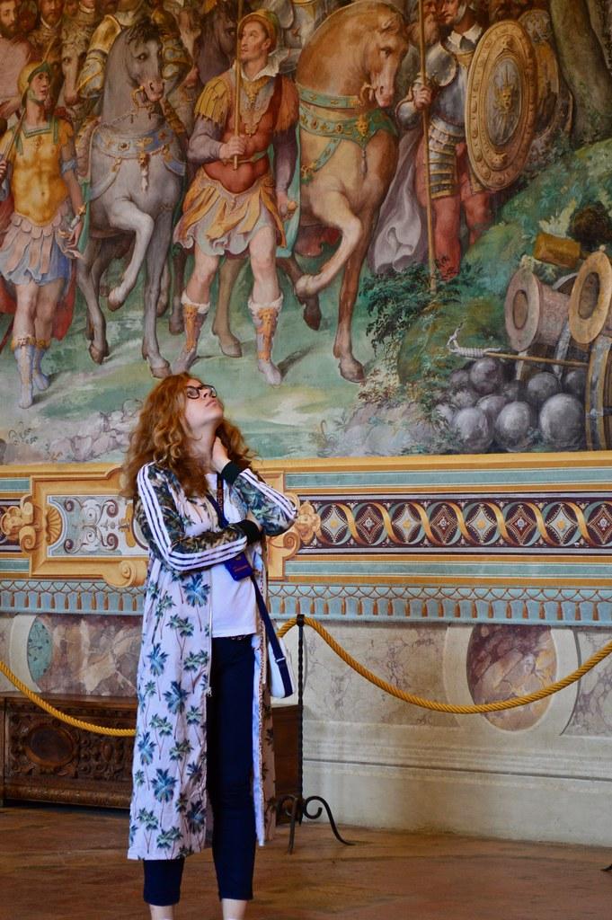 Cornell in Rome student Karolina Piorko (B.Arch. '21) gazes up at a ceiling fresco in the Palazzo Farnese.   photo / Alp Demiroglu (B.Arch. '21)