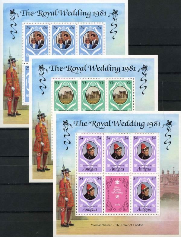 Známky Antigua 1981 Kráľovská svadba 3 hárky