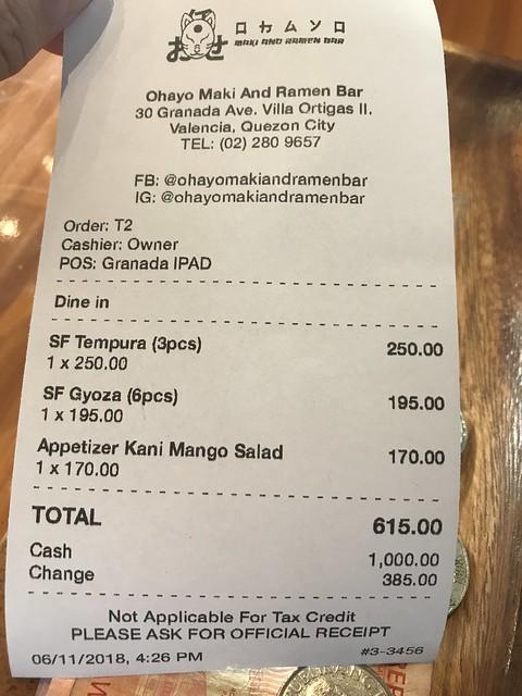 Ohayo Ramen Bar food bill
