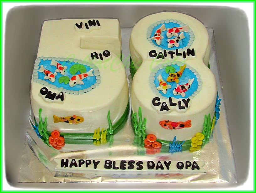Cake angka 58 ikan kou OPA 20 cm