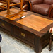 Solid dark wood coffee table drawers E160
