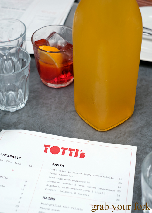 $3 cordial jugs at Totti's by Merivale in Bondi