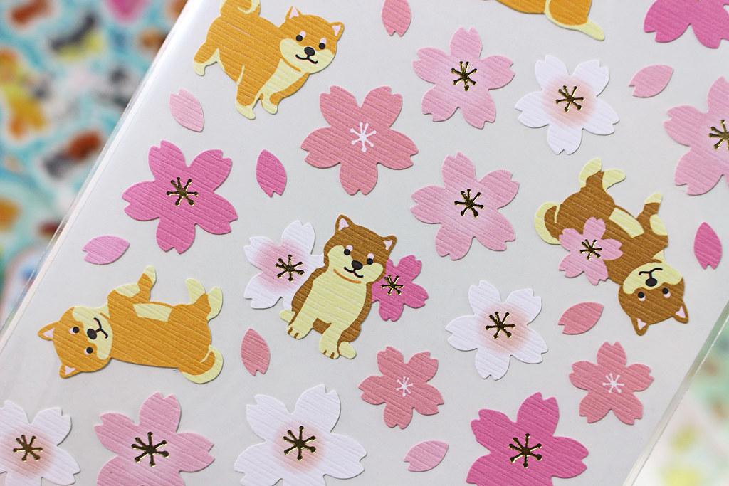 Kawaii Sakura Shiba Inu Stickers