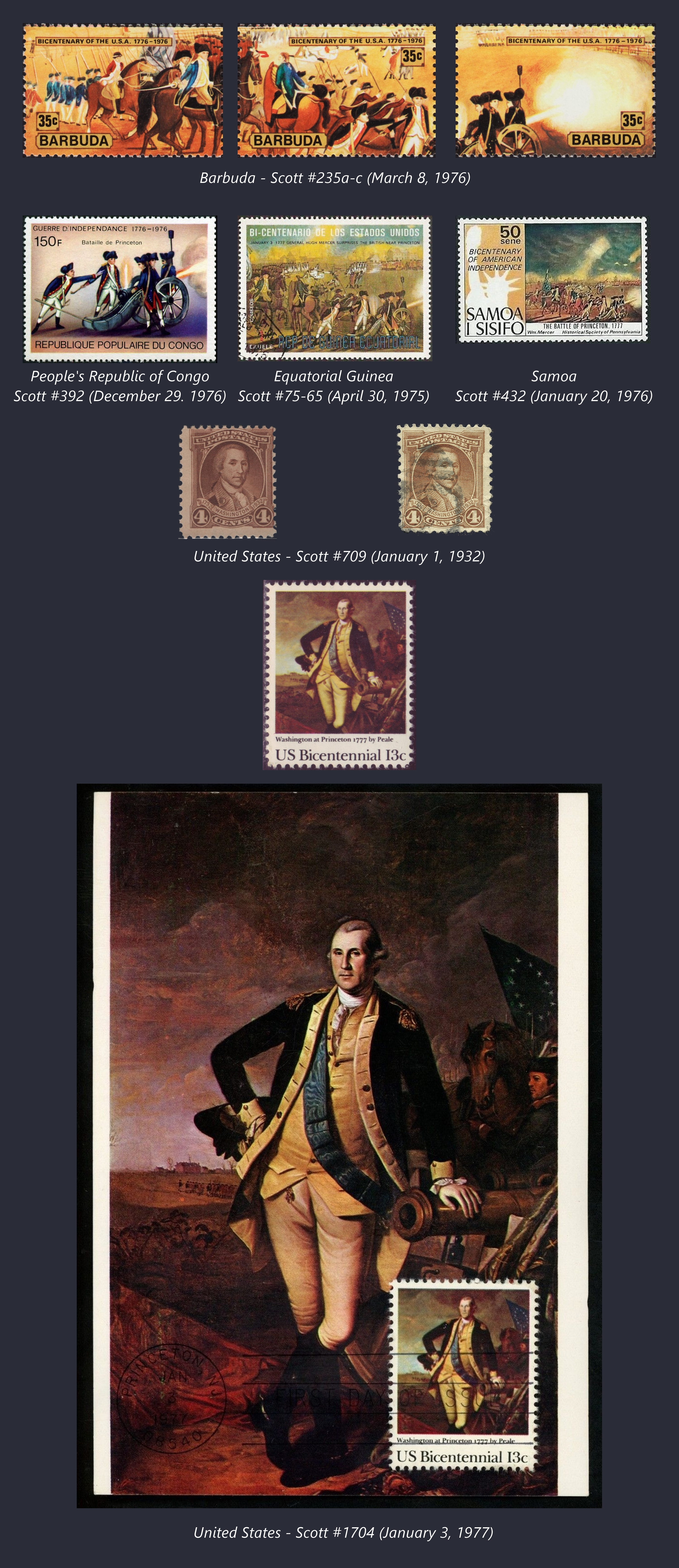 Stamps commemorating the Battle of Princeton
