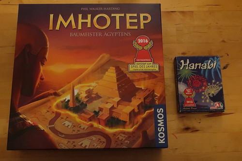 """Brettspiel """"Imhotep"""" und kooperatives Kartenspiel """"Hanabi"""""""