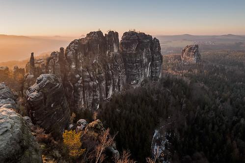 "Sunset on ""Schrammstein"" plateau"