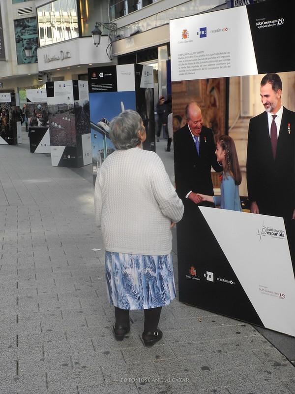 Mujer contemplando unos paneles fotográficos alusivos al 50 aniversario de la Constitución Española
