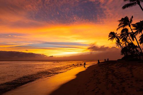 Kaanapali beach sunset on Maui Hawaii