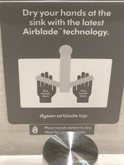 Dyson Airblade hand dryer instructions, Edinburgh Airport, Scotland
