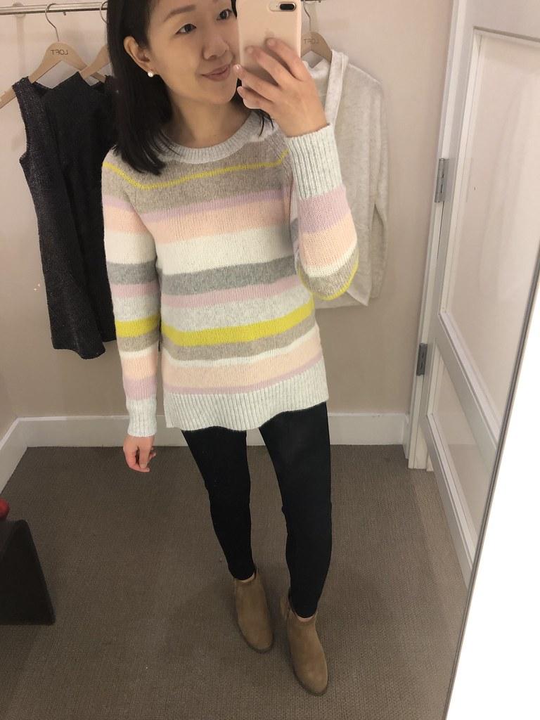 LOFT Mixed Stripe Sweater, size XS regular
