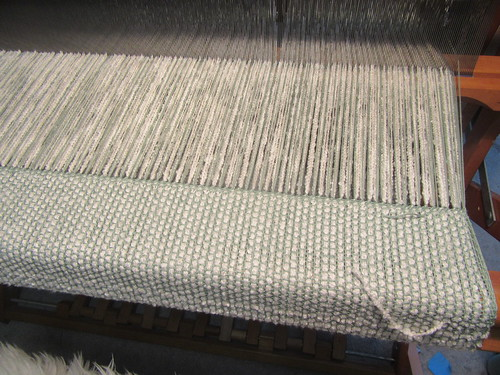 Handweaving hem for cotton boucle baby blanket in plain and basket weave on Schacht Mighty Wolf loom by irieknit