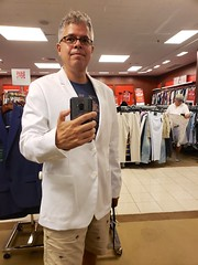 Trying On A White Calvin Klein Jacket In Macy's