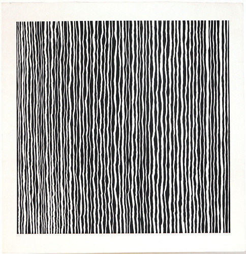 Black Marks by Ayomi Yoshida, 1998, woodblock print, ink on paper. Image courtesy of the Tolman Collection, Tokyo and the artist