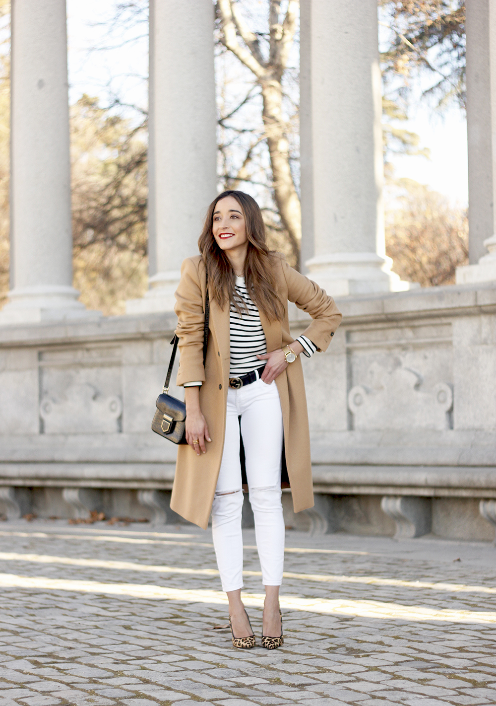 beige coat ripped jeans givenchy bag gucci belt street style outfit 20196