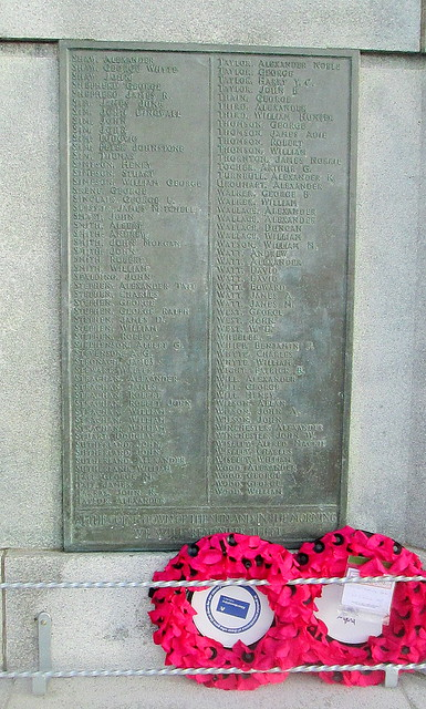 Fraserburgh War Memorial Great War Names
