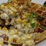 Cream Corn :corn: Chicken & Waffle ~ Jalapeño Cheddar Bacon Waffle   Cream Corn   Maple Bacon Gastrique   Buttery Panko Crumble   @sproutorganicfarms Micros • • • • #foodart #foodgasm #foodheaven #gansett #chickenandwaffles #thrillist #eater #foodie #food