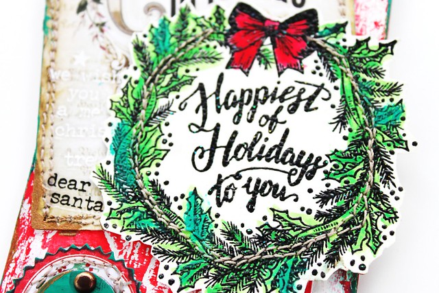 Meihsia Liu Simply Paper Crafts Mixed Media Christmas Tag Stitch It Up Tim Holtz Simon Says Stamp 4