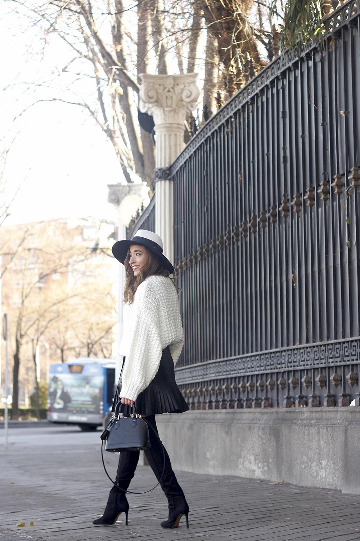 black pleated skirt  white sweater louis vuitton bag street style inspiration 20197