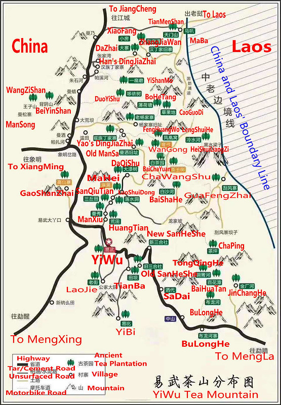 yiwu tea mountain map