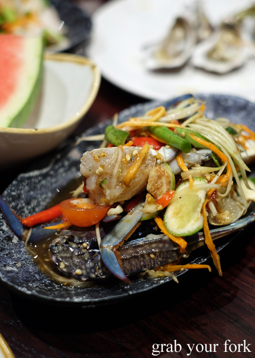 Spicy pickled blue swimmer crab salad at Talay's Thai all you can eat seafood buffet at Duo Central Park in Chippendale