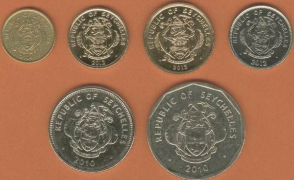 Seychely 1-5-10-25 Cents + 1-5 Rupees 2010-2012 UNC