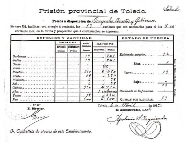 Hoja de suministro de alimentos a la cárcel de Gilitos en 1917. Colección de M. Maroto.
