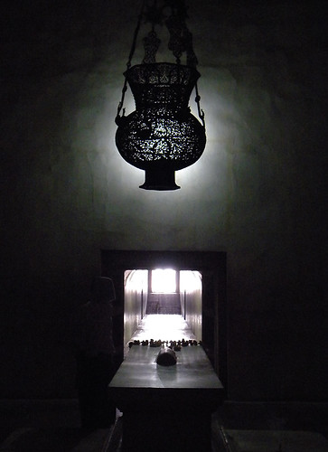 A lantern above the tomb of Akbar at Akbar's Mausoleum in Agra, India