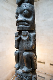 Section of black totem pole