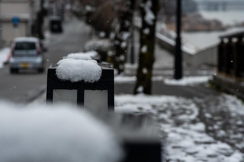 雪が降る犬山