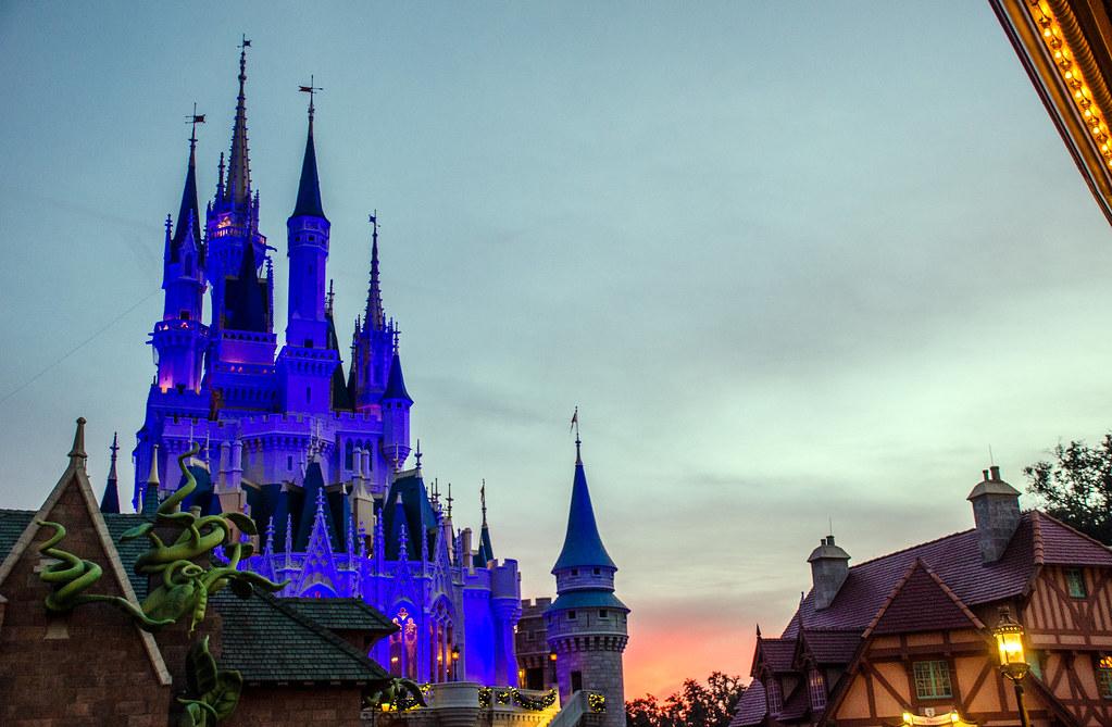 Castle from Fantasyland sunset MK