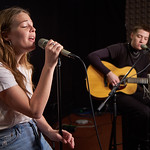 Wed, 23/01/2019 - 2:18pm - Maggie Rogers and guitarist Elle Puckett perform in WFUV's Studio A and chat with DJ Carmel Holt, 1/23/19. Photo by Gus Philippas