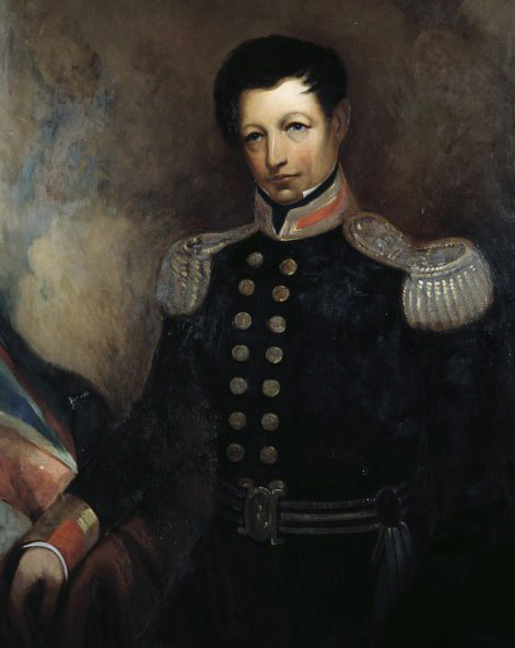 Captain William Hobson, first Governor of New Zealand. Inscription on verso: Copy by J. McDonald, Dominion Museum, 1913, copied from the small painting presented to Auckland by the Hon. W. Mitchelson, M.L.C. Small portrait for Government House copied from this. Painted by James Ingram MacDonald, 1913. Currently in the collections of the Alexander Turnbull Library (reference: G-826-1).