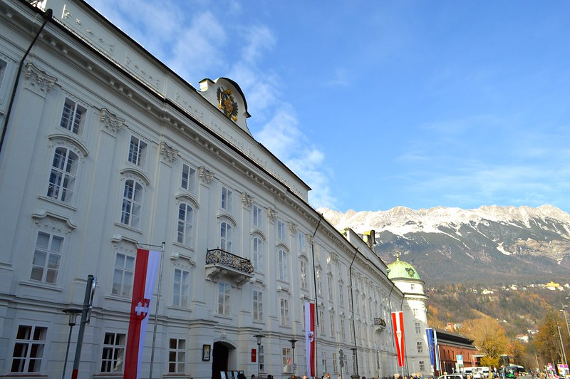 This is a picture of Hofburg Innsbruck with the Nordkette in the background