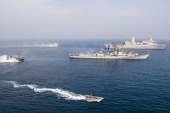 USS Anchorage (LPD 23) sails alongside the Indian Navy's INS Rajput (D51) in the Indian Ocean, Dec. 26. (U.S. Navy/MC3 Ryan M. Breeden)