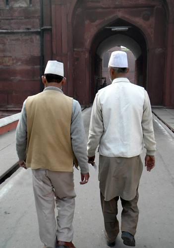 Two Muslim men entering the Red Fort in Delhi, India