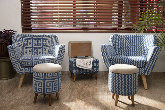 Hand-woven fabric block printed upholstered chairs