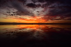 Sunset over a mirror