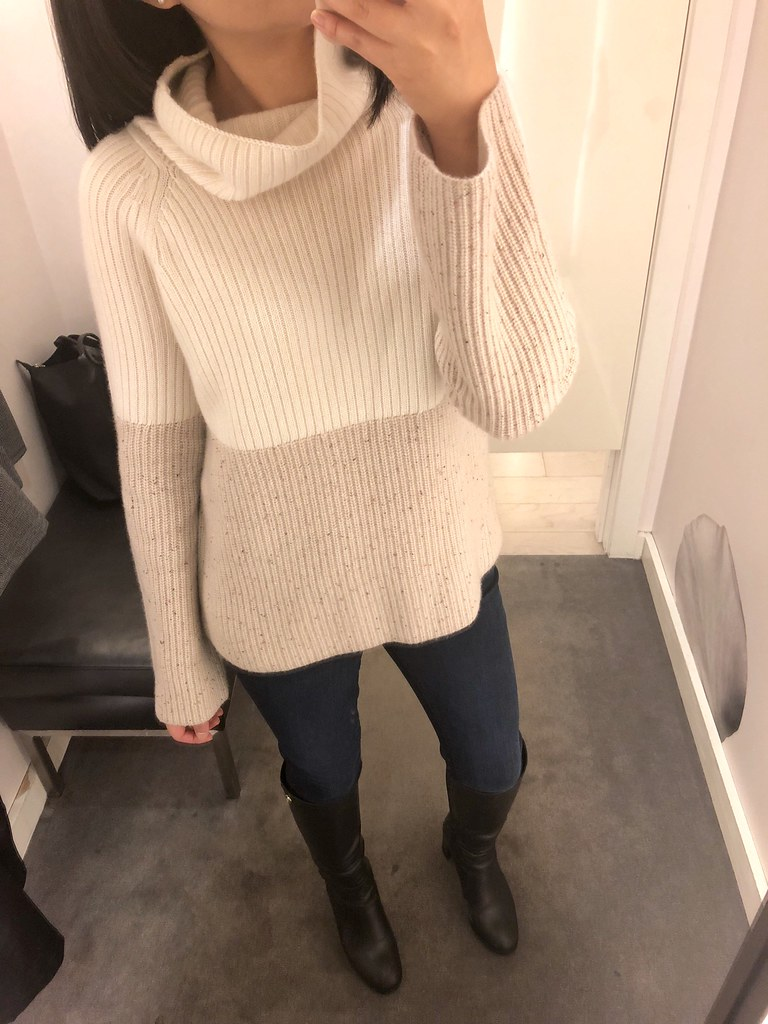 Ann Taylor Cashmere Colorblock Ribbed Turtleneck Sweater, size XS regular