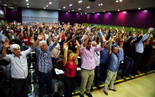 Assembleia no auditório da Escola Dieese de Ciências do Trabalho estabeleceu agenda contra ataques a direitos dos trabalhadores - Créditos: Roberto Parizotti   CUT