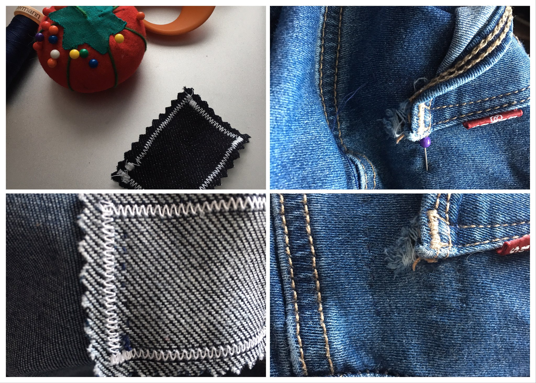 Steps of visible mending on jeans