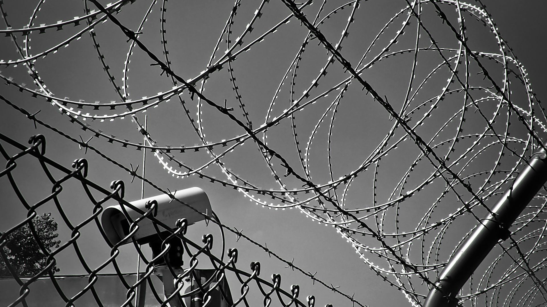 Barbed wire, fence and security camera