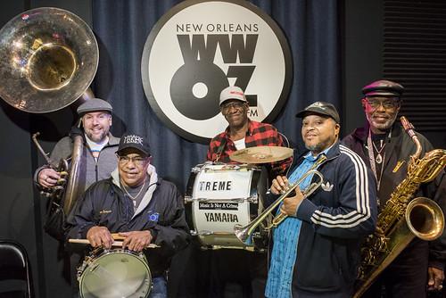 Treme Brass Band at WWOZ's 38th birthday celebration - 12.4.18. Photo by Ryan Hodgson-Rigsbee rhrphoto.com.