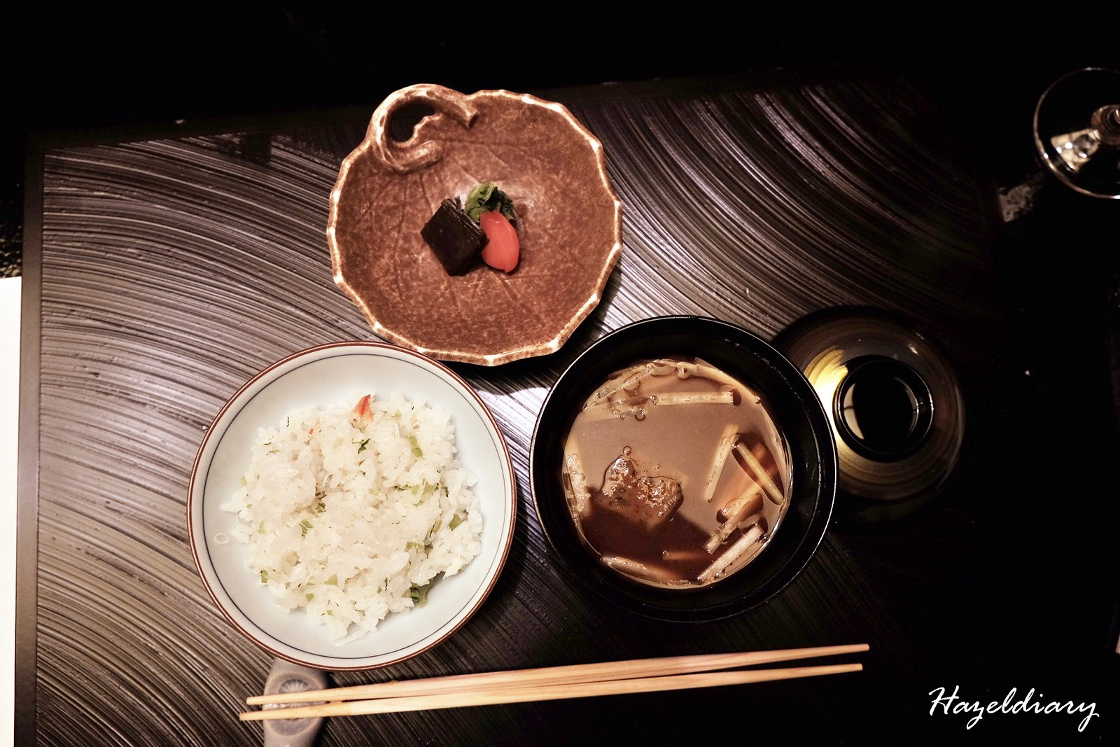 kaiseki soujuan keio plaza hotel tokyo-crab meat rice and miso soup