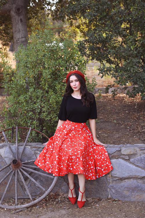 Miss Fortune Shaken Not Stirred Circle Skirt Paisley Raye Violet Top in Black