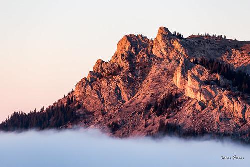 Stratus sur le bassin lémanique. Le Mont César