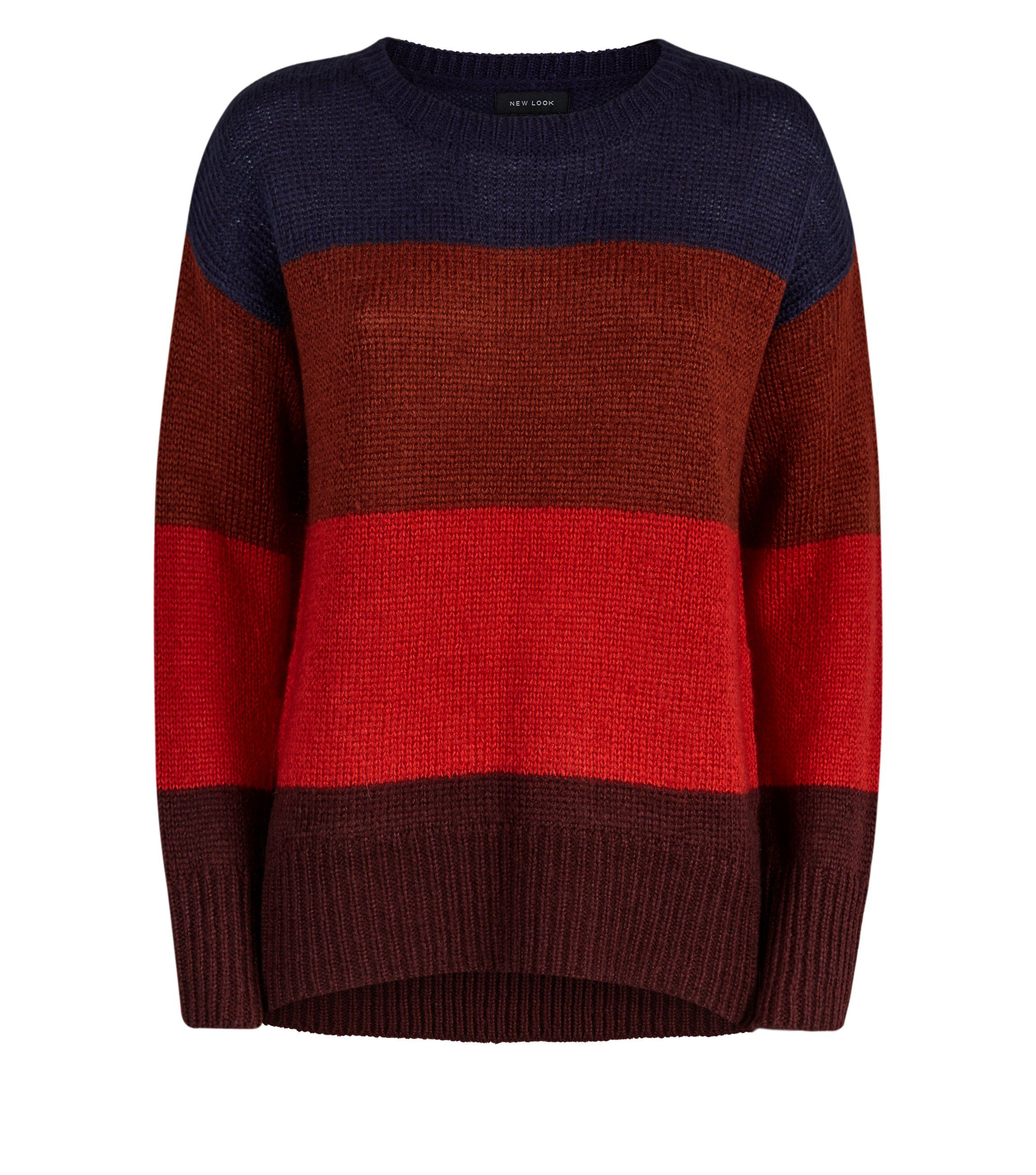 red-colour-block-stripe-slouchy-jumper