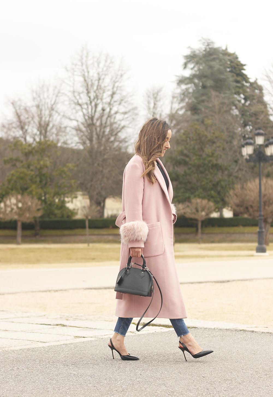 pink coat byleclair carolina herrera heels jeans louis vuitton ba street style outfit 20197